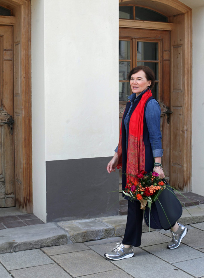 Annette Casual Wearing Denim with Scarf and Pants | 40plusstyle.com