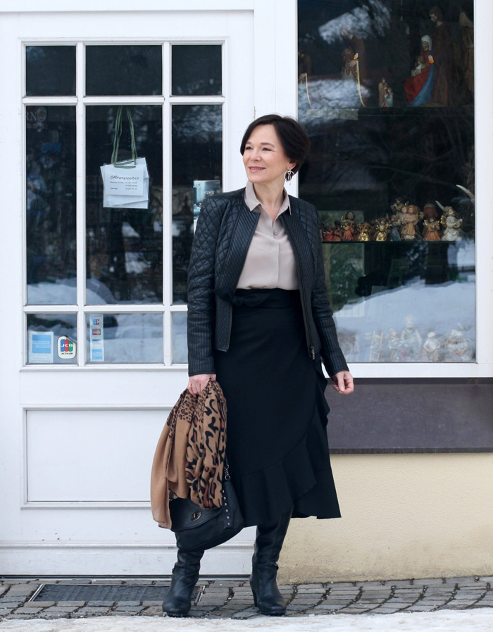 Annette-Corporate Wearing Black Leather Jacket and Highwaist Skirt | 40plusstyle.com