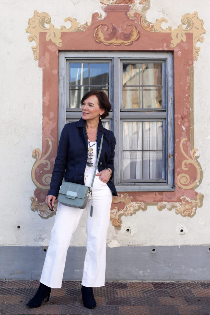 Annette Wearing All White with Blazer | 40plusstyle,com,