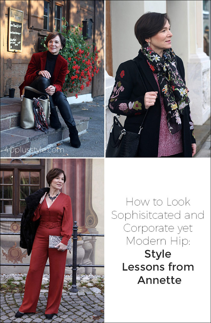 How to Look Sophisticated and Corporate yet Modern and Hip Style Lessons from Annette | 40plusstyle.com