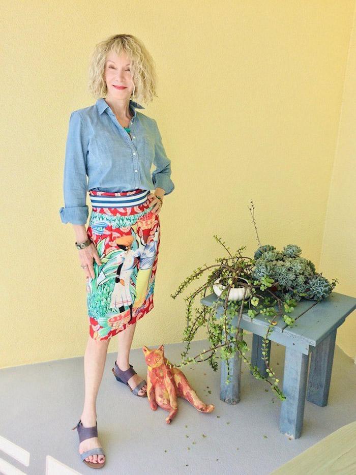 Patti Wearing Denim Buttondown and Printed Skirt | 40plusstyle.com