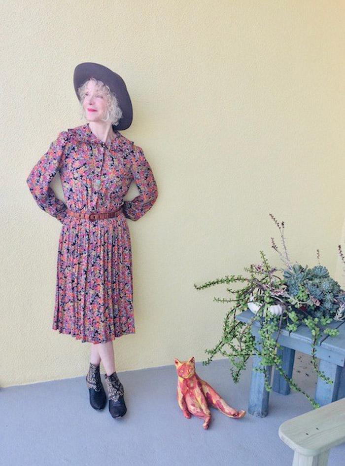 Patti Wearing Floral Dress | 40plusstyle.com