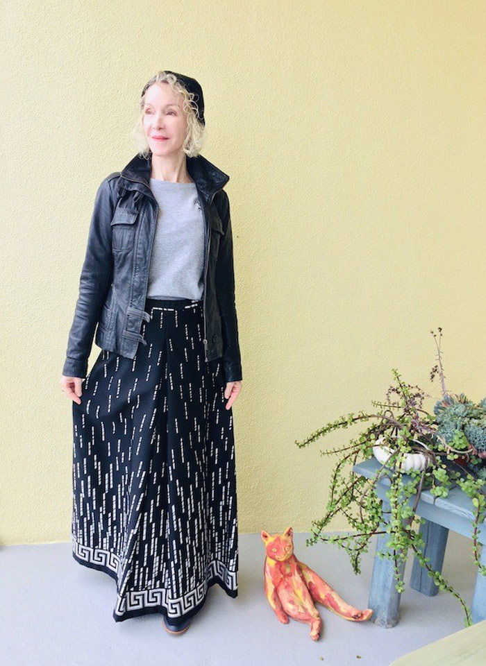 Patti Wearing Leather Jacket and Maxi Skirt | 40plusstyle.com