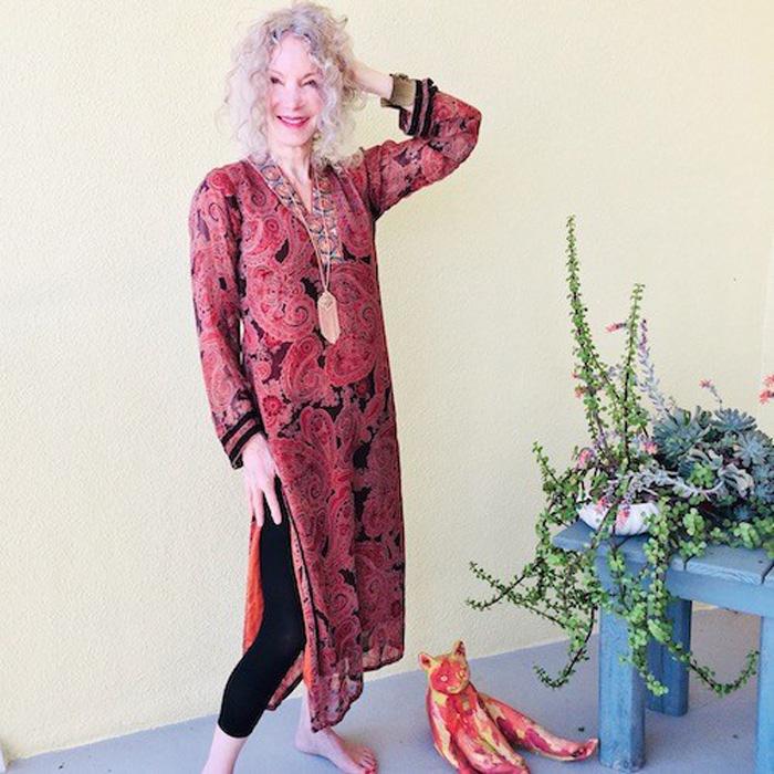 Patti Wearing Printed Tunic Dress | 40plusstyle.com