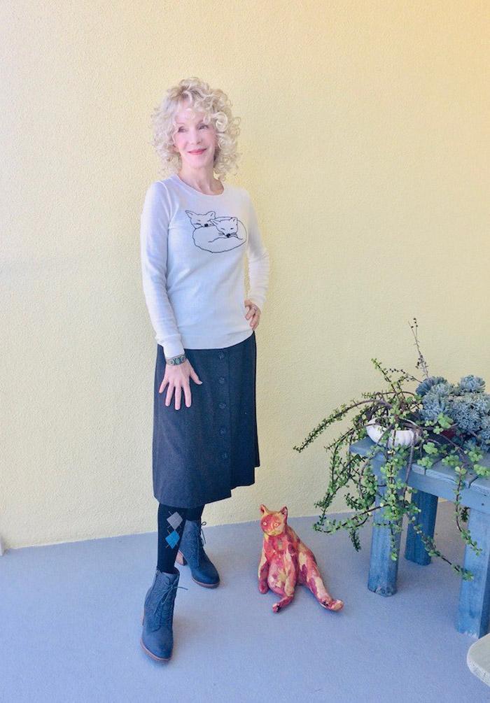 Patti Wearing White Fox Sweater and Skirt | 40plusstyle.com