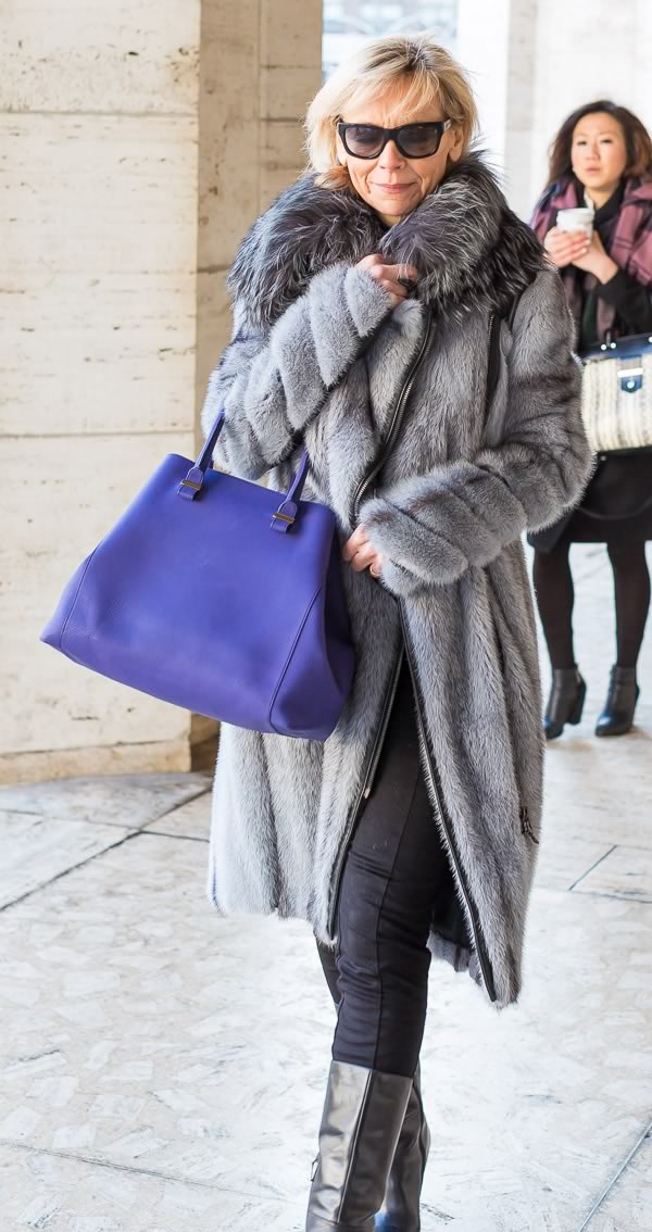 street style fashion and fur coats worn by women over 40 during new york fashion week
