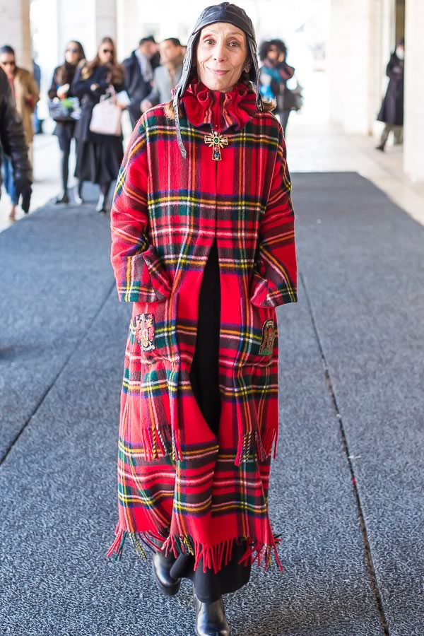 red chequered coat | 11 best streetstyle looks by women over 40 featuring prints | 40PlusStyle.com