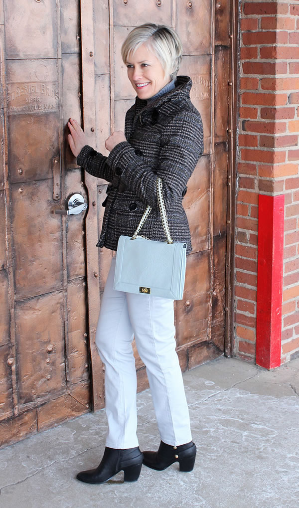Ann wearing baby blue pants with grey checkered jacket | 40PlusStyle.com