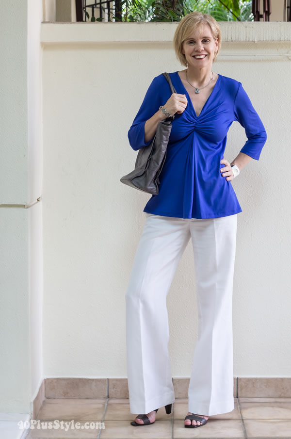 Wide white trousers with blue Covered Perfectly top | 40PlusStyle.com