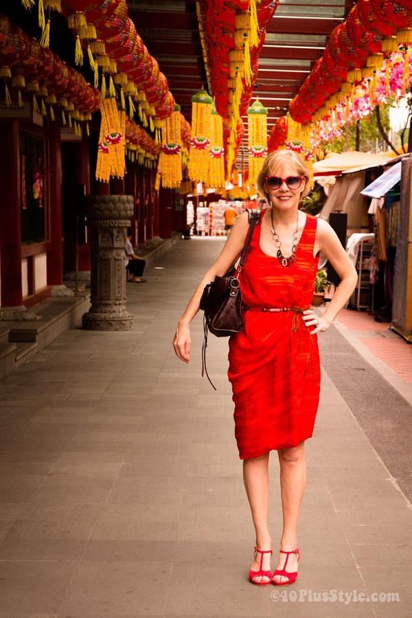 Red silk CK Calvin Klein Dress | 40PlusStyle.com