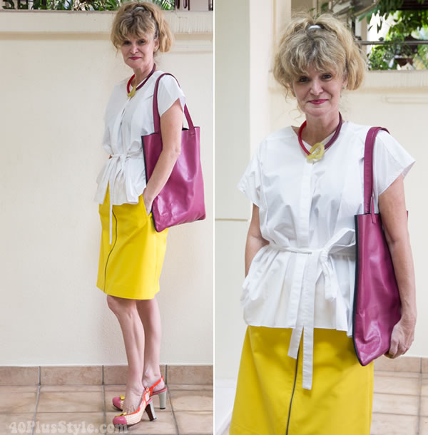 Anja in white and yellow |  40PlusStyle.com