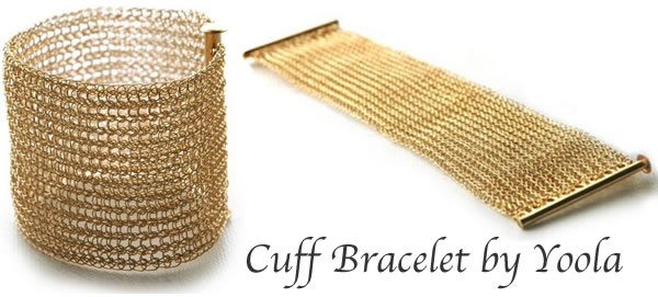 gold cuff bracelet by yoola from Boticca | 40plusstyle.com
