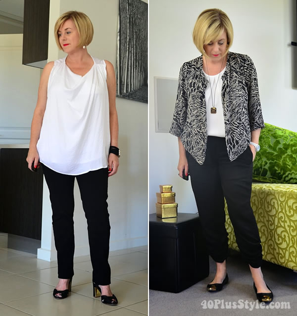 how to look great in black and white - a style interview with Deborah | 40plusstyle.com