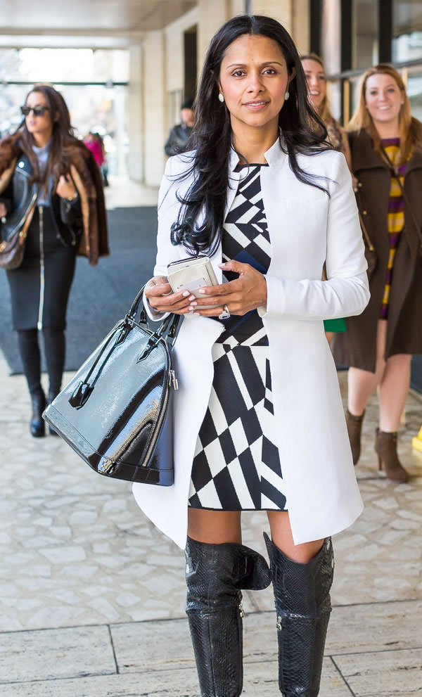 Black and white dress with over the knee boots | 40plusstyle.com