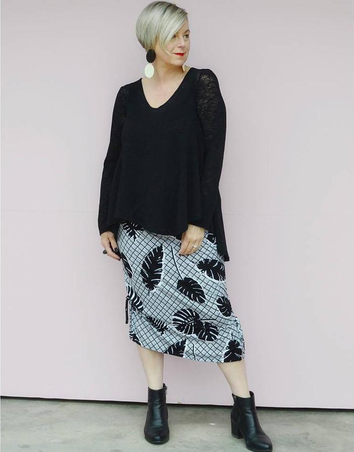 Deborah wearing black lace longsleeves and printed skirt | 40plusstyle.com