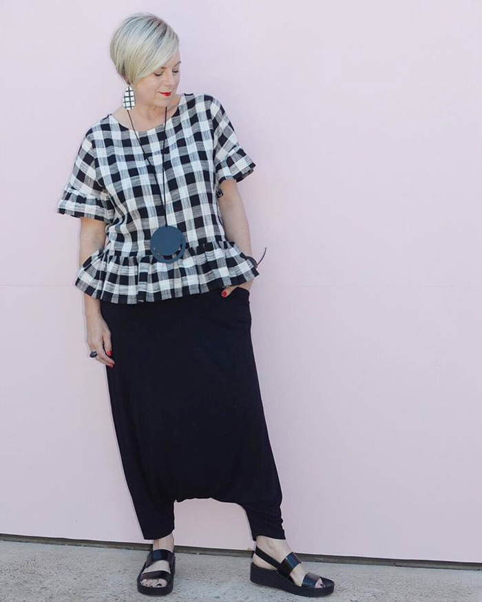 Deborah checkered top and black pants| 40plusstyle.com