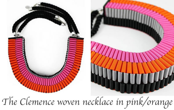 Clemence woven necklace in pink/orange by Jennifer Loiselle | 40plusstyle.com