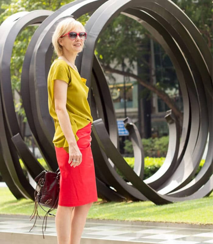 The red skirt and mustard top and my key elements of style. Do you know what they are for you?