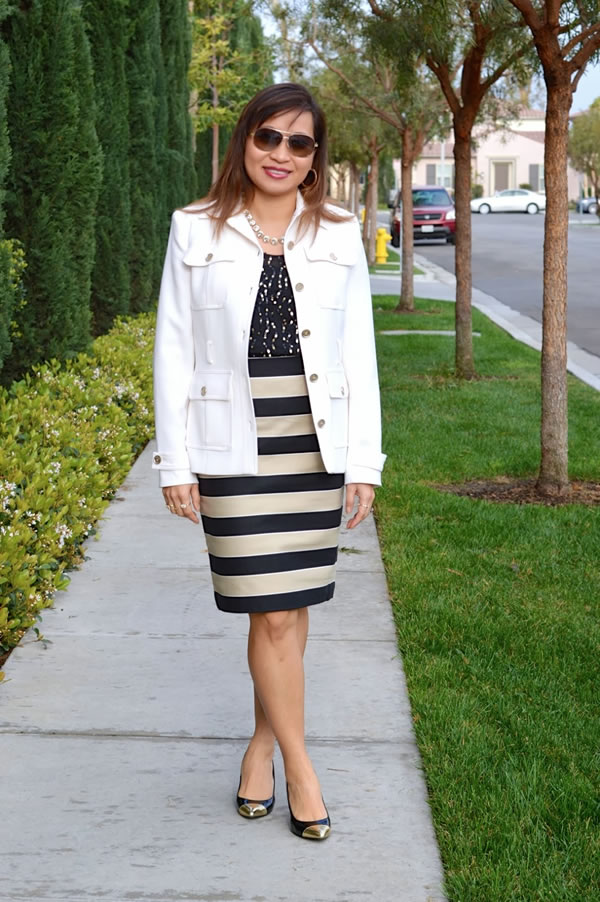Striped pencil skirt | 40PlusStyle.com
