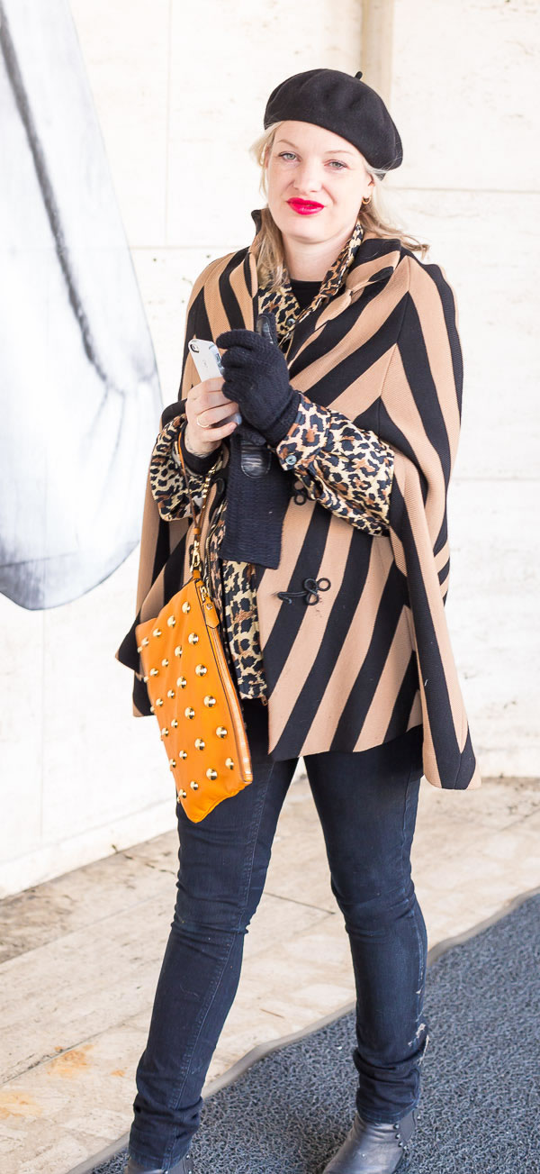 Great pattern mixing with stripes and animal print   40plusstyle.com