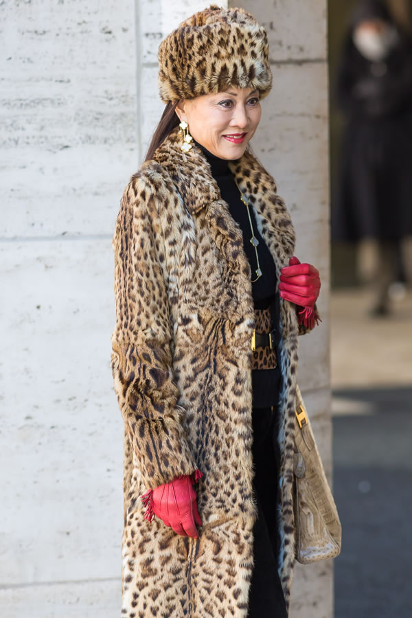 animal print coat and hat | 40plusstyle.com