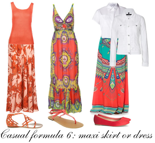 Casual outfit formula 6: maxi skirt or dress | 40plusstyle.com