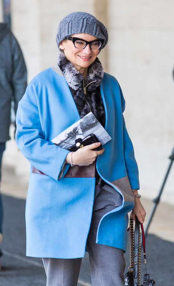 wearing a bright blue jacket | 40plusstyle.com
