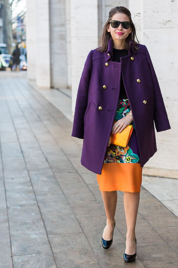 Wearing a purple jacket with colorful dress | 40plusstyle.com