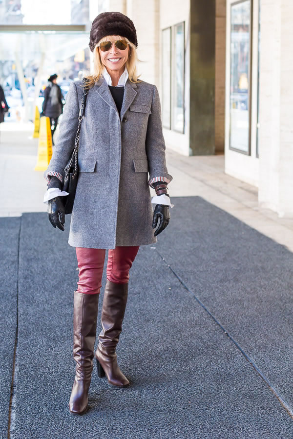 elegant outfit with grey jacket | 40plusstyle.com