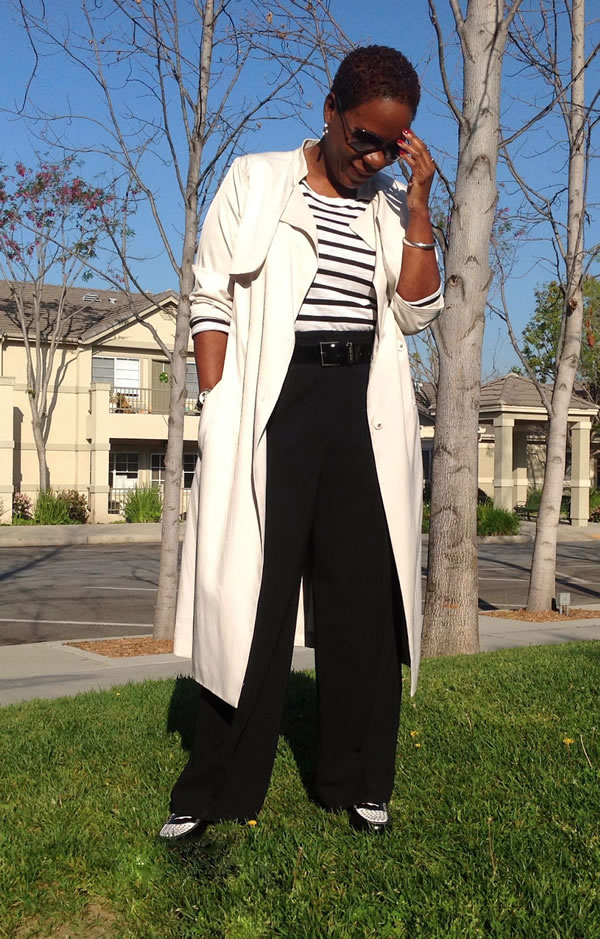 black wide pants with long cream jacket | 40plusstyle.com
