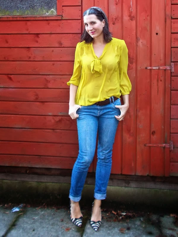 bright yellow and jeans | 40plusstyle.com