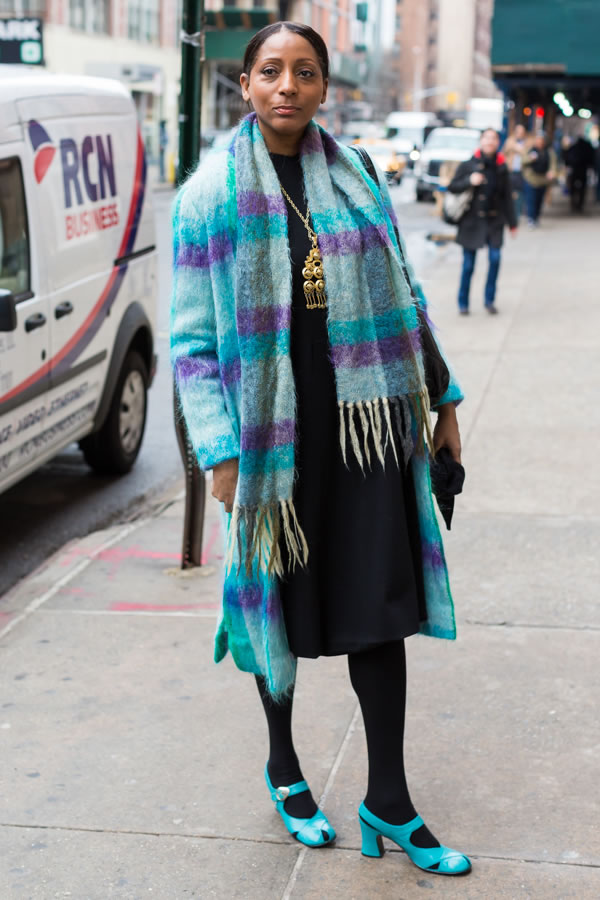 Beautiful turquoise coat at the Manhattan Vintage show in New York | 40plusstyle.com