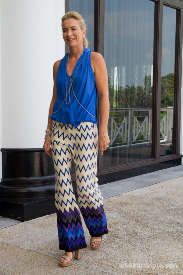 wide printed pants with draped top
