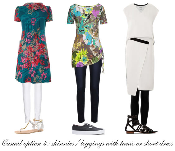 Casual formula 4: skinnies or leggings with tunic or short dress | 40plusstyle.com
