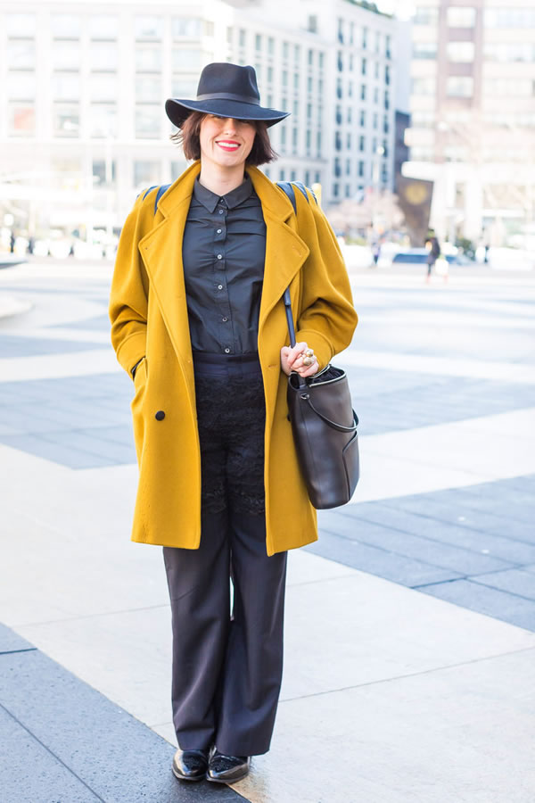 Black worn with a mustard coat | 40plusstyle.com