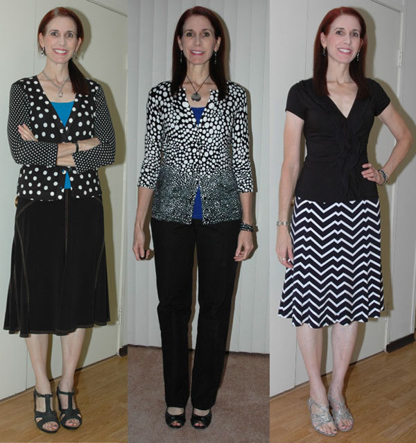 Debbie in black & white outfits | 40plusstyle.com