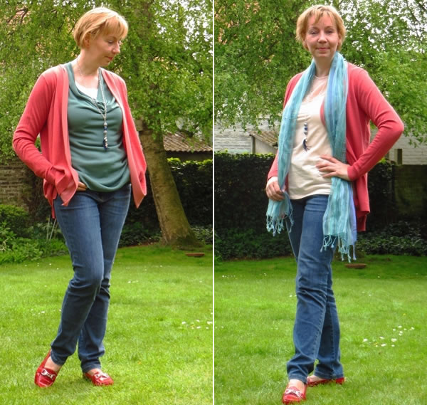 blue jeans with coral cardigan   40plusstyle.com