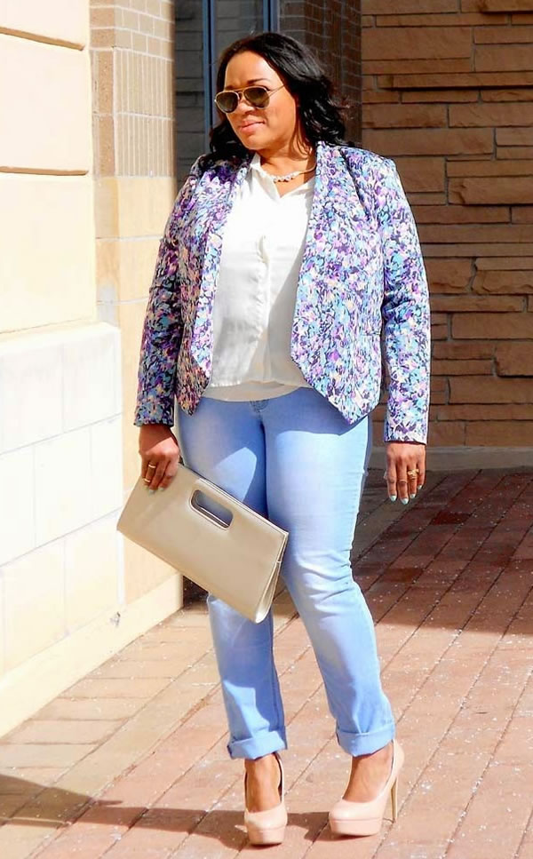 jeans and a flower jacket | 40plusstyle.com