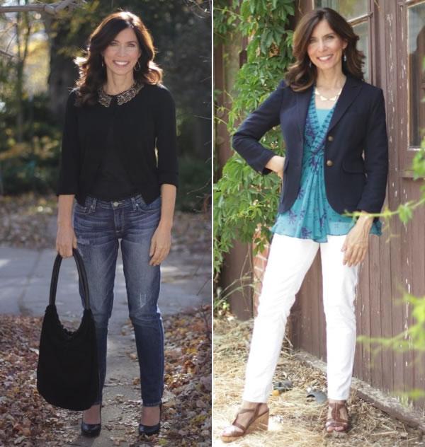 c51b9ec37b0d9 How to wear jeans with a jacket or cardigan | 40plusstyle.com ...