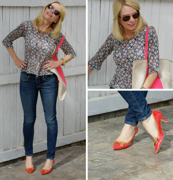 Looking very hip with blue skinnies and red pumps | Trina | 40plusstyle.com