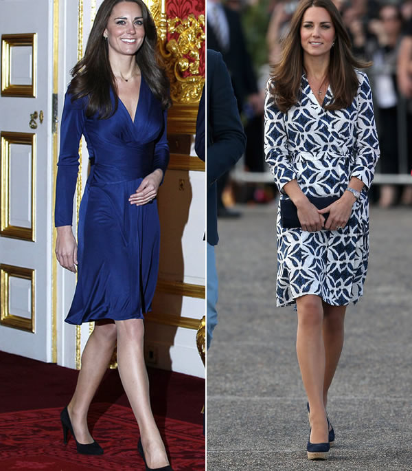 katherine duchess of cambridge wearing a wrap dress | 40plusstyle.com