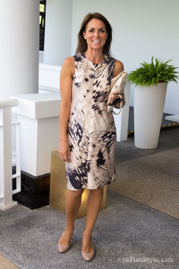 What to wear to a fashion lunch: a printed dress | 40plusstyle.com