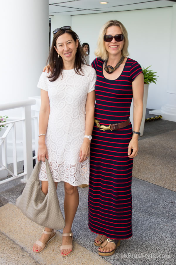 cream dress and striped dress | 40plusstyle.com