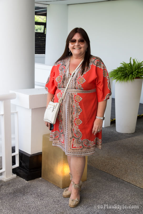 orange dress with a paisley print   40plusstyle.com