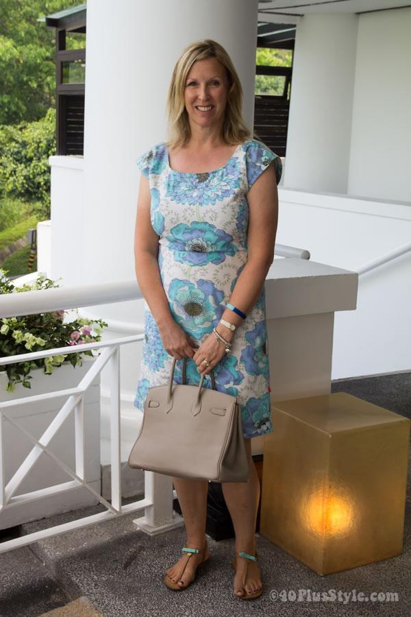 blue flower summer dress   40plusstyle.com