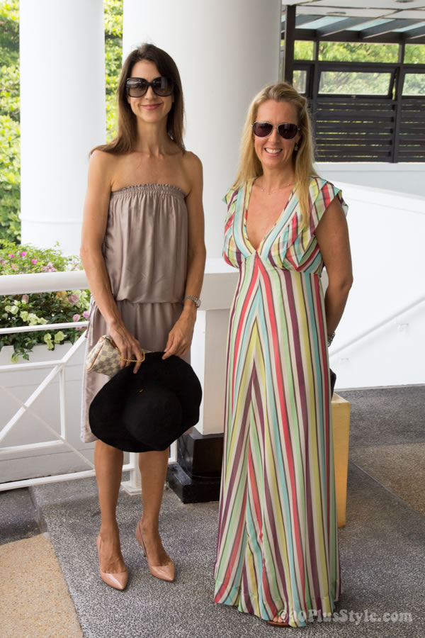 strapless nude dress and striped maxi dress | 40plusstyle.com