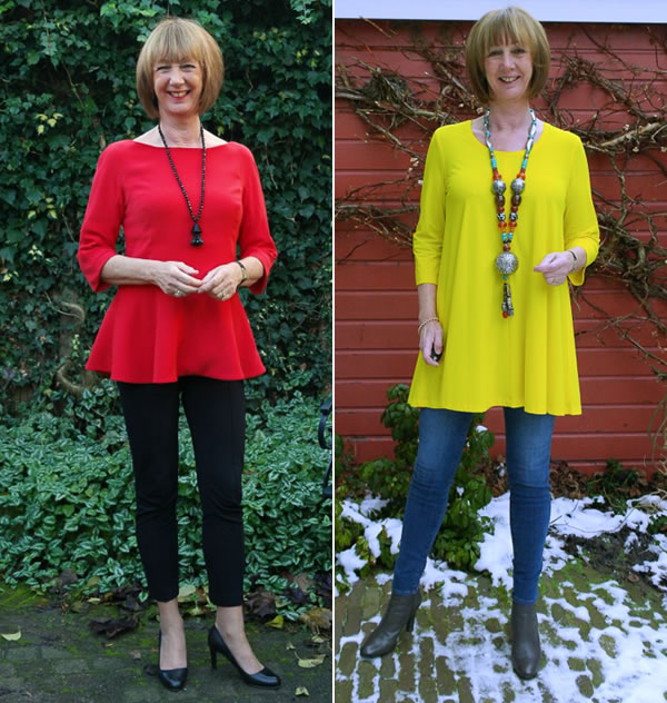 Greetje wearing skinnies with a bright tunic | 40plusstyle.com