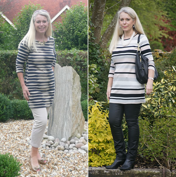 Lorraine wearing striped tunics over trousers | 40plusstyle.com