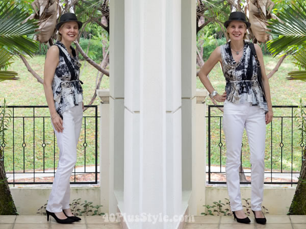 black and white outfit with comfortable pumps   40plusstyle.com