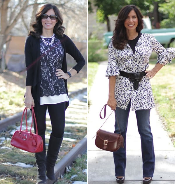 Ana wearing tunics with jeans | 40plusstyle.com